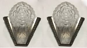 Art Deco Wall Sconces Pair Of Signed Degue French Art Deco Sconces Modernism