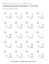 adding doubles worksheet free printable first grade math worksheets
