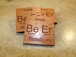 periodic table inspired drink beer periodically wooden coasters