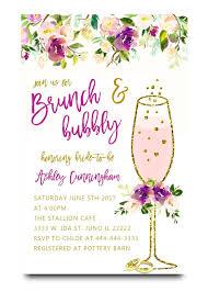 bridal shower invitations brunch purple brunch and bubbly bridal shower invitation