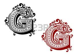 letter g in uppercase font adorned by ornamental flourishes and