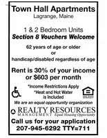 Section 8 3 Bedroom Voucher Bangor Daily News Classifieds Rentals Town Hall Apartments