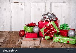 presents ornaments on wooden background stock photo
