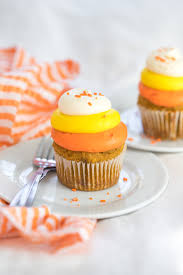 pumpkin candy corn pumpkin cheese cupcakes with candy corn swirl gluten free