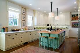 turquoise kitchen island with brown countertop together turquoise
