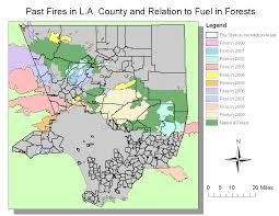 Los Angeles Fires Map by Geography 7 Gis March 2013