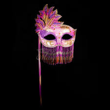 purple mardi gras handheld stick mask women mardi gras beaded masquerade mask purple