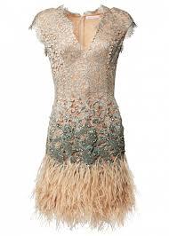 beige lacquer lace feather dress dresses matthew williamson