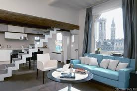 amazing modern apartment interior design with light blue sofa and