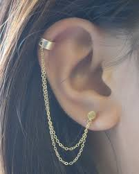 connecting earrings chain cuff earring available in gold by olive yew
