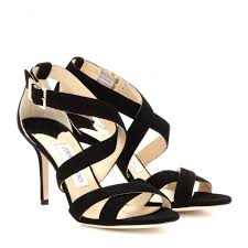 jimmy choo louise suede sandals in black lyst