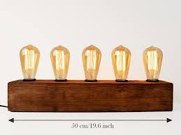 industrial table lamp with drift wood base 5 edison bulbs u2013 woodpost