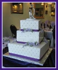 wedding cake lavender square wedding cake with lavender roses and purple ribbon a