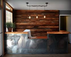 Mobile Reception Desk by Rustic Wood Wall Industrial Pipe Pendant Light Reclaimed Metal