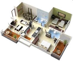 3d Floor Designs by 25 Two Bedroom House Apartment Floor Plans