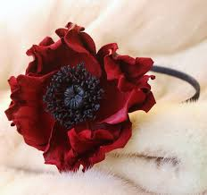 headband flowers leather flowers poppy headband presentperfect creations