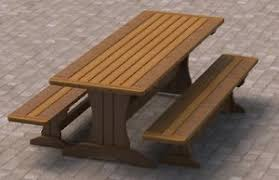 Picnic Table With Benches Plans 8ft Trestle Style Picnic Table With Benches 002 Building Plans