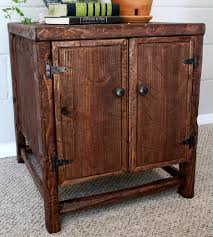 rustic pine side table features reclaimed wood everettco