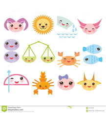 funny kawaii zodiac sign astrological set virgo stock vector