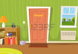 home interior vector illustration of a home interior with living room door