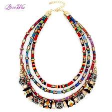 handmade statement necklace images Latest women multi layers statement necklace boho style wrap jpeg