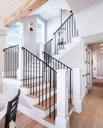 Landing Banister Beautiful Farmhouse Country Entryway With Black Stair Railings