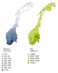 Map Of Norway Monthly Average Daily Global Solar Radiation Map Of Norway For The