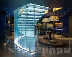 glass stairs and glass staircase in the spotlight