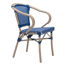 zuo paris metal outdoor patio dining chair in navy blue and white