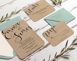 wedding invitations kraft paper kraft paper wedding invitation etsy