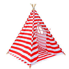 kids teepee tent red stripe papillon home