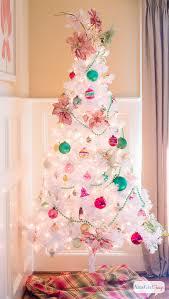 vintage white tree with shiny brite ornaments atta