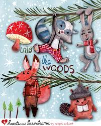 into the woods woodland animals ornaments