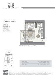 apartment floor plans 1 bedroom 52 42 apartments floor plans binayah real estate