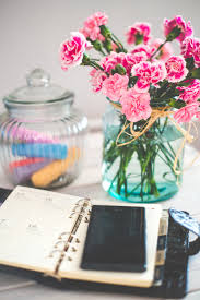 Pink Glass Desk Pink And White Carnations In Green Glass Vase On White Desk Free