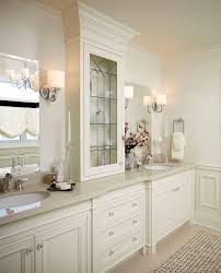 leaded glass cabinet bathroom traditional with wall sconce white