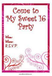 free printable sweet 16 birthday party invitations
