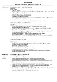 marketing administrator resume samples velvet jobs