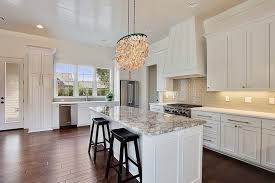 Kitchen Island Granite Countertop White Kitchen Island With Gray Granite Countertops Transitional