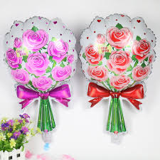 flowers and balloons 2pcs pink bouquet flowers foil balloons mariage