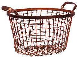 metal wire basket u2013 cast in iron u2013 copper color finish u2013 twin