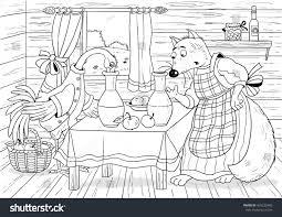 russian fairy tale fox stork illustration stock illustration