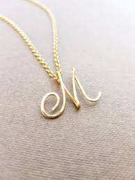 gold necklace with letter images Cursive gold letter alphabet initial quot m quot necklace birthday gift jpg