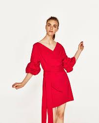 mini dress with ruffled sleeves dresses woman zara united states