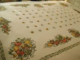 autumn harvest table linens vtg harvest table cloth linen 56x76 mushrooms fruit veggies autumn