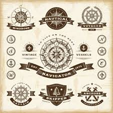 vintage nautical labels set royalty free cliparts vectors and