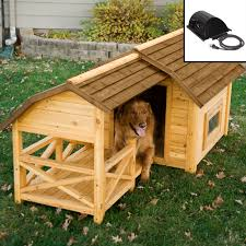 house dimensions boomer u0026 george darker stain duplex dog house with free dog doors