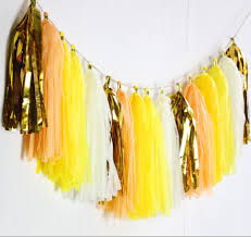 gold foil tissue paper 24pcs tissue paper tassel garland fringe in yellow and gold foil