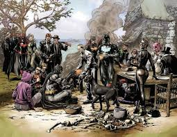 the bat family and their foes prepare for thanksgiving dinner