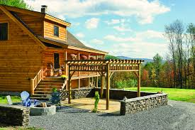 Pre Built Pergola by Decor U0026 Tips Coventry Log Homes With Patio And Firepit Also